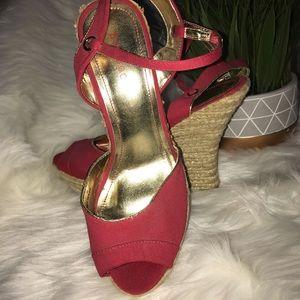 Red with gold platform wedge sandal